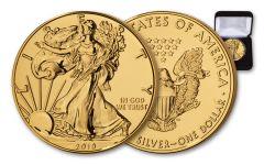 2019 $1 1-oz Silver American Eagle BU Gilded in 24 Karat Gold