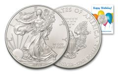 2019 $1 1-oz Silver American Eagle BU Birthday Balloons Card