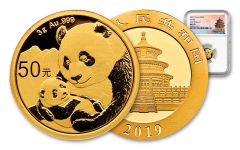 2019 China 3 Gram Gold Panda NGC MS70 First Releases - Temple Label
