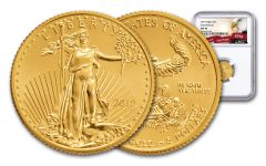 2019 $5 1/10-oz Gold American Eagle NGC MS70 Early Releases - Eagle Label