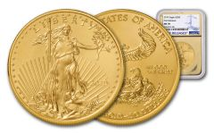 2019 $50 1-oz Gold American Eagle NGC MS70 First Releases - Gold Core