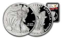 2019-W $1 1-oz Silver American Eagle NGC PF70UC First Day of Issue - Black Core, Eagle Label