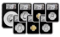 2019 Apollo 11 50th Anniversary 7-Piece Set NGC PF70UC/MS70 First Day of Issue - Charlie Duke Signed Labels