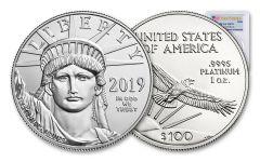 2019 $100 1-oz Platinum American Eagle PCGS MS70 First Strike - Flag Label