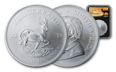 2019 South Africa 1-oz Silver Krugerrand NGC MS69 First Releases - Black Core, Springbok Label