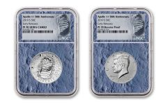 2019-S Apollo 11 50th Anniversary Half Dollar & Kennedy Half Dollar 2-Piece Set NGC PF70 Early Releases - Moon Core with Mission Patch