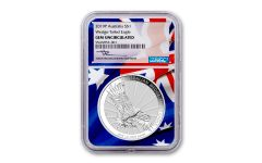 2019 Australia $1 1-oz Silver Wedge Tailed Eagle NGC Gem Uncirculated - Flag Core, Mercanti Signed Label