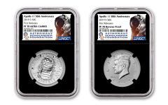 2019-S Apollo 11 50th Anniversary Half Dollar & Kennedy Half Dollar 2-Piece Set NGC PF70 First Releases - Black Core, Astronaut Scholarship Foundation Labels