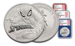 2017 Tuvalu 1 Dollar 1-oz 3-Piece Silver Spiderman NGC MS70- FDI