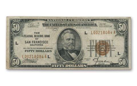 1929 Series $50 Federal Reserve National Bank Note Fine   GovMint com