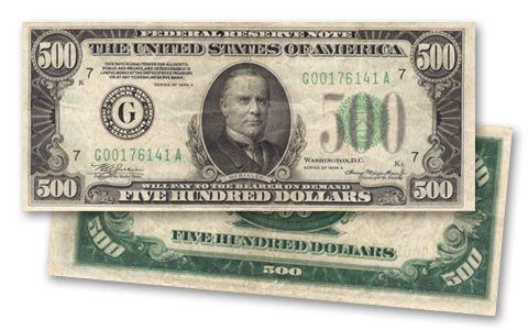 1934 Us 500 Dollar Federal Reserve Note Very Fine Vf Bill Govmint