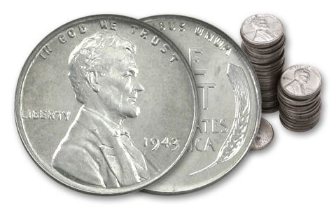 1943 Steel Cents - VG Condition Coins - Roll of 50 Pennies | GovMint com
