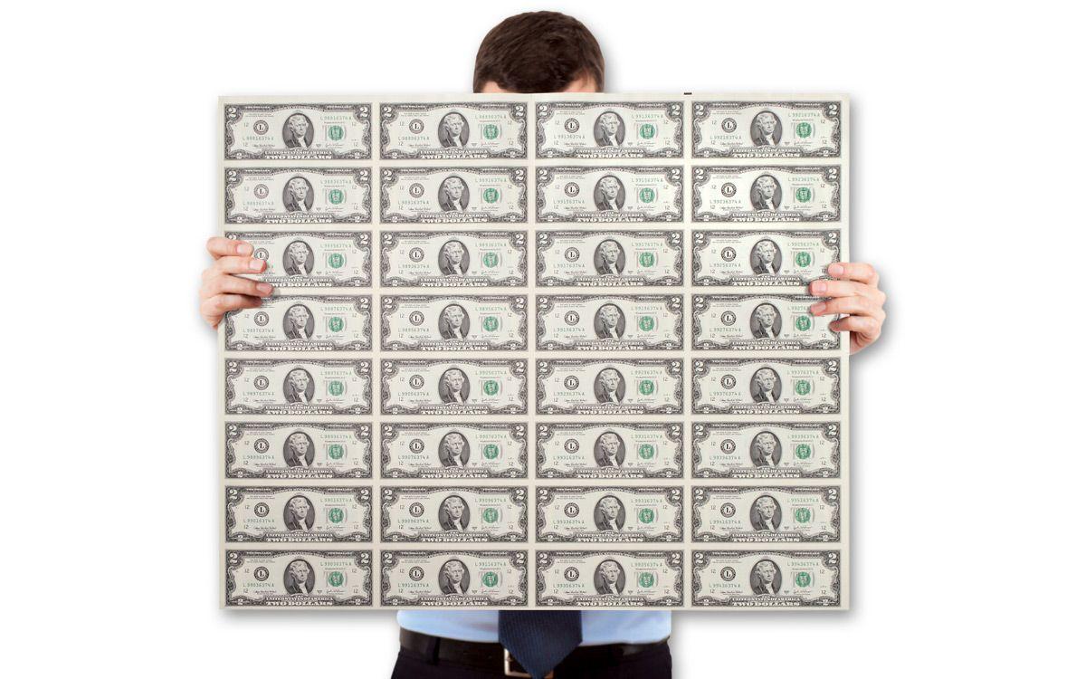 2009 $2 Federal Reserve Note Uncut 32-Note Sheet CU   GovMint com