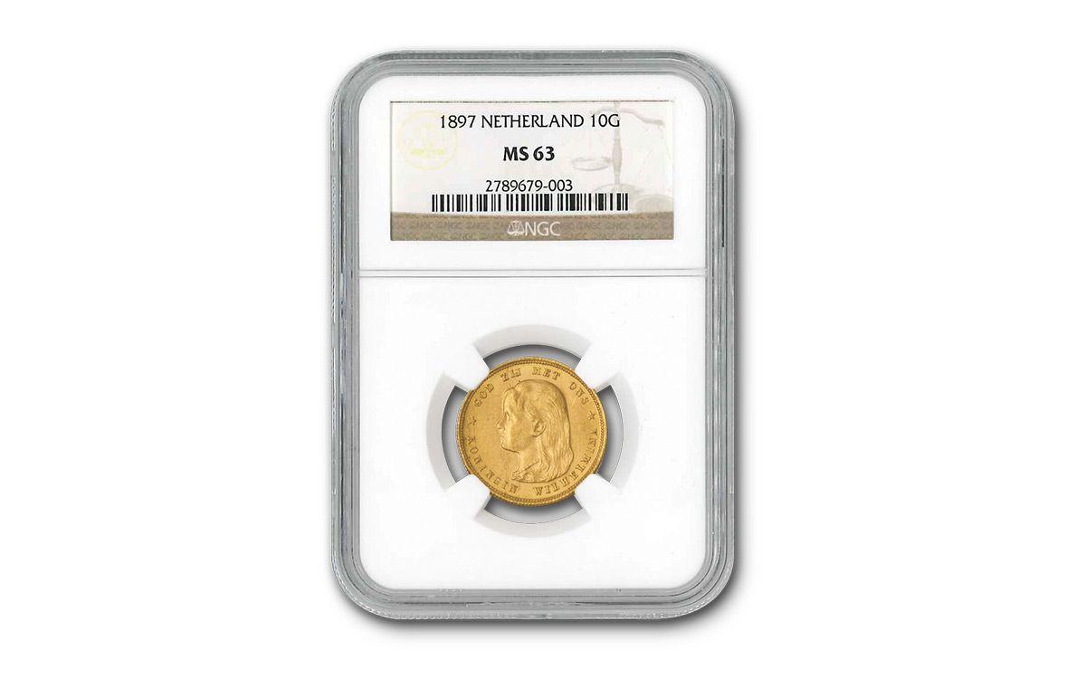 1897 Dutch 10 Guilder Gold Queen Wilhelmina NGC MS63 | GovMint com