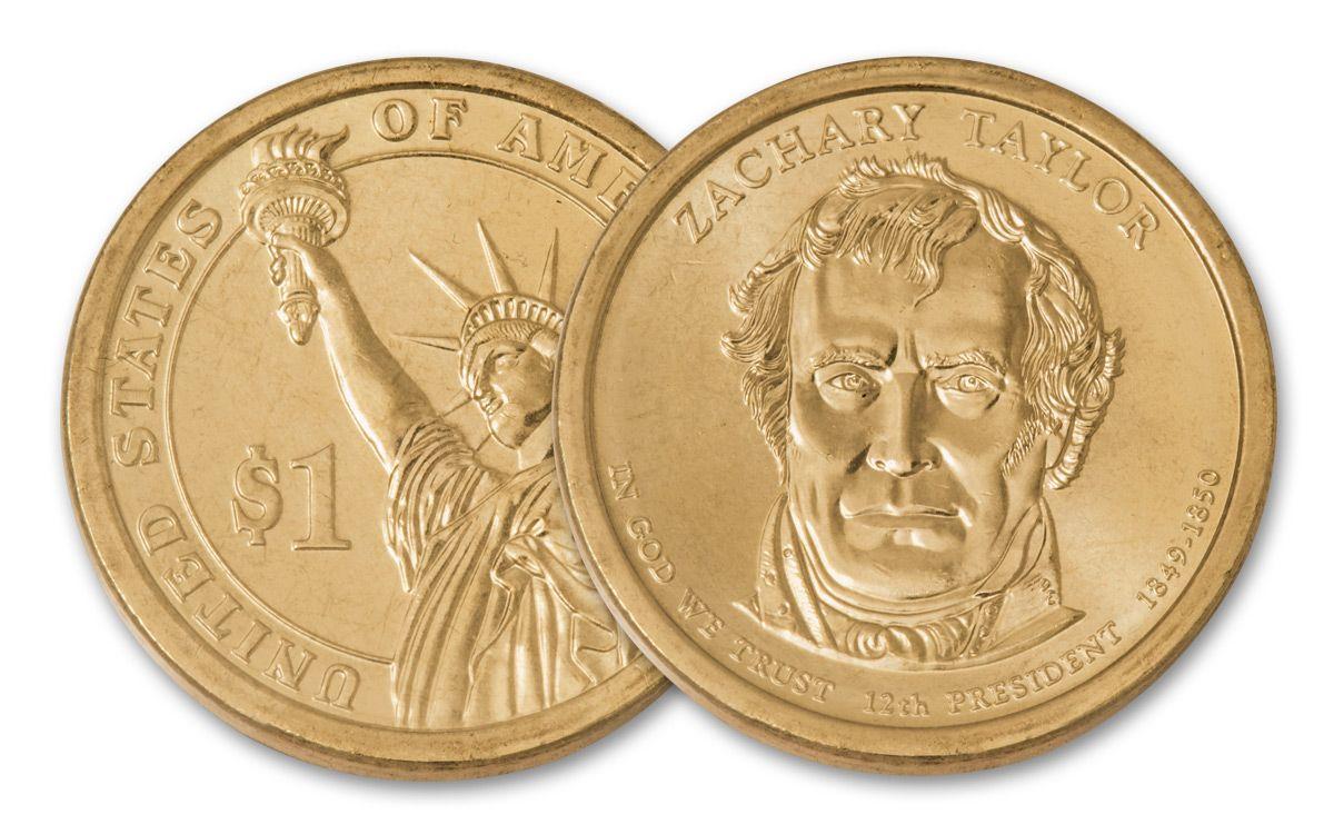 2009 Zachary Taylor Presidential Golden Dollar Error Coin BU | GovMint com