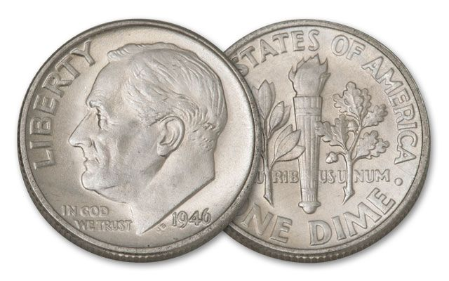 1946 10 Cent Roosevelt 10 Piece BU | GovMint.com