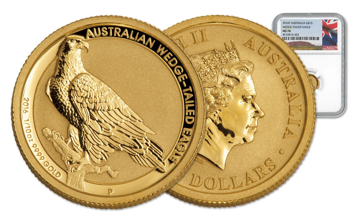 2016 $15 1/10-oz Australian Gold Wedge-Tailed Eagles MS70 | GovMint com