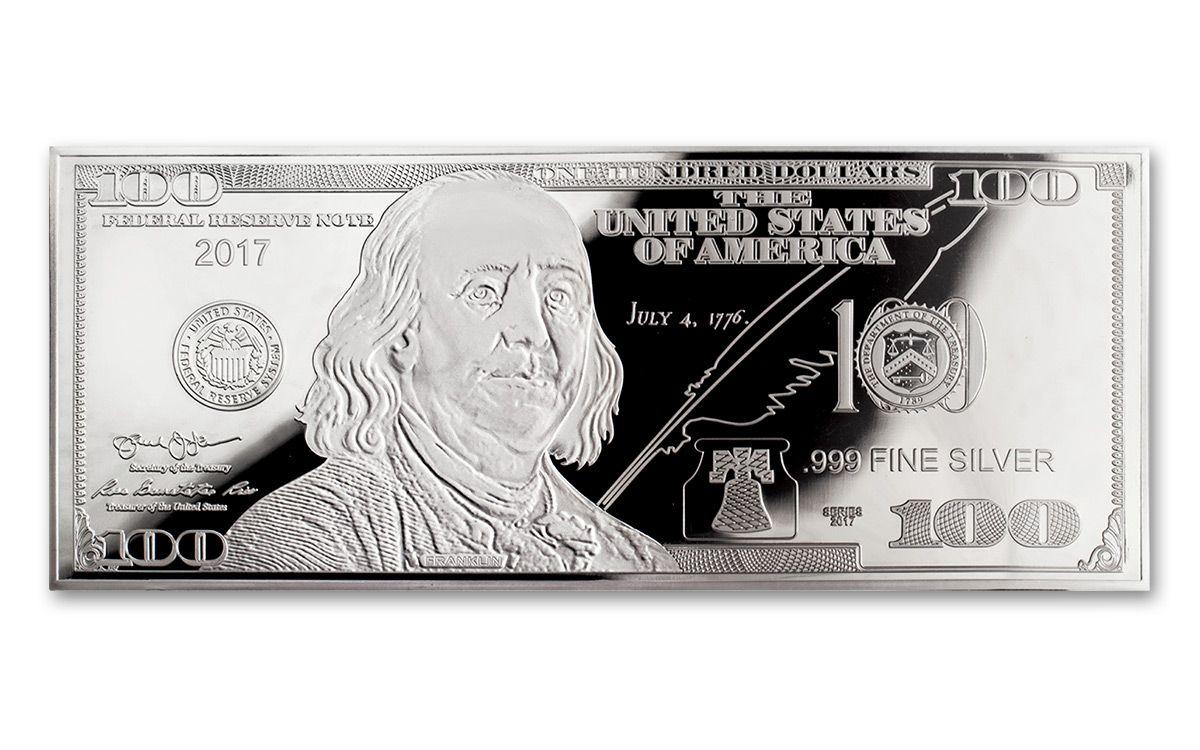 2017 100 Dollar Bill 1-oz Silver Franklin Proof | GovMint com