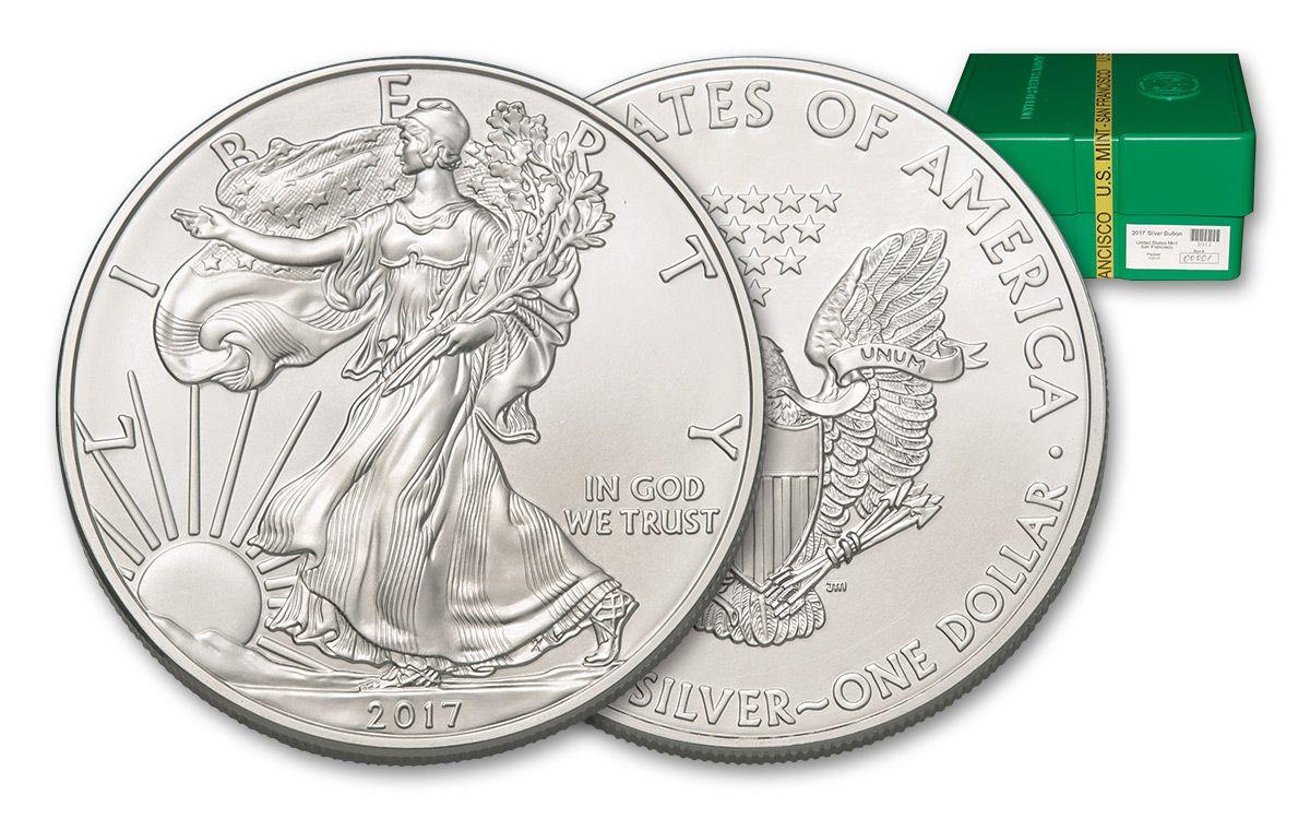 2017 US 1 Dollar 1-oz Silver Eagle BU 500-Coin Monster Box   GovMint com