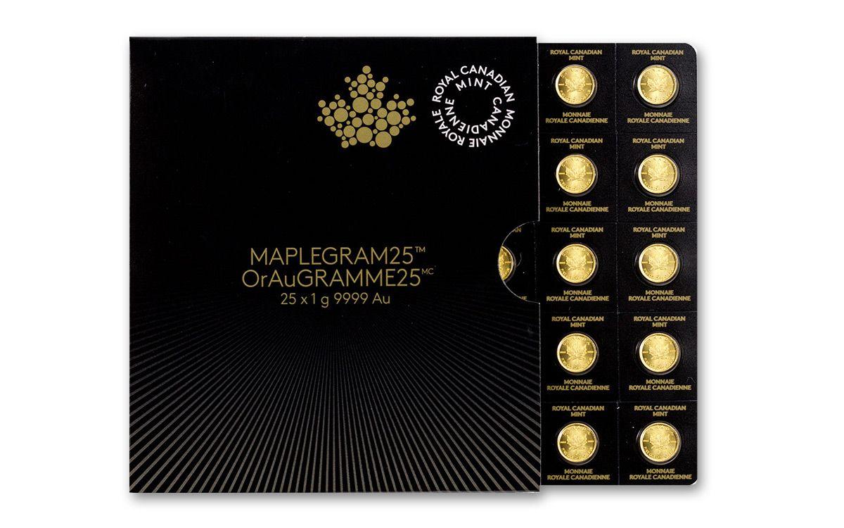 2017 Canada 1 Gram Gold Maple Leaf Bu 25 Coin Sheet