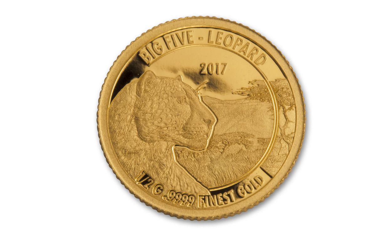 2017 Tanzania Half Gram Gold Big Five Proof 5 Coin Set