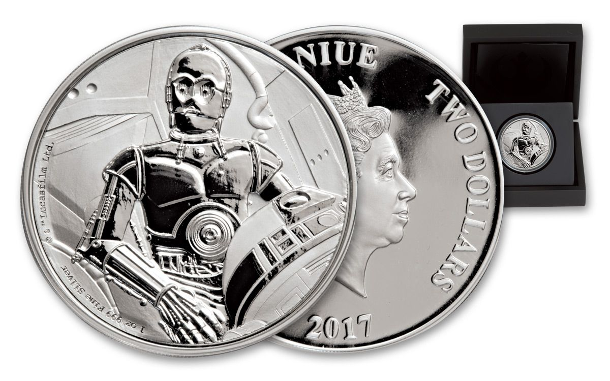 2017 Niue Two Dollar 1-oz Silver Star Wars C-3P0 Proof Coin