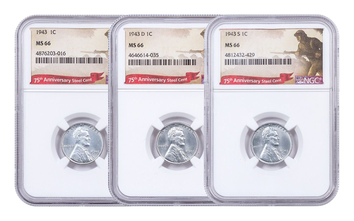 1943 US PDS Steel Lincoln Cent 3-Coin Set NGC MS66 | GovMint com