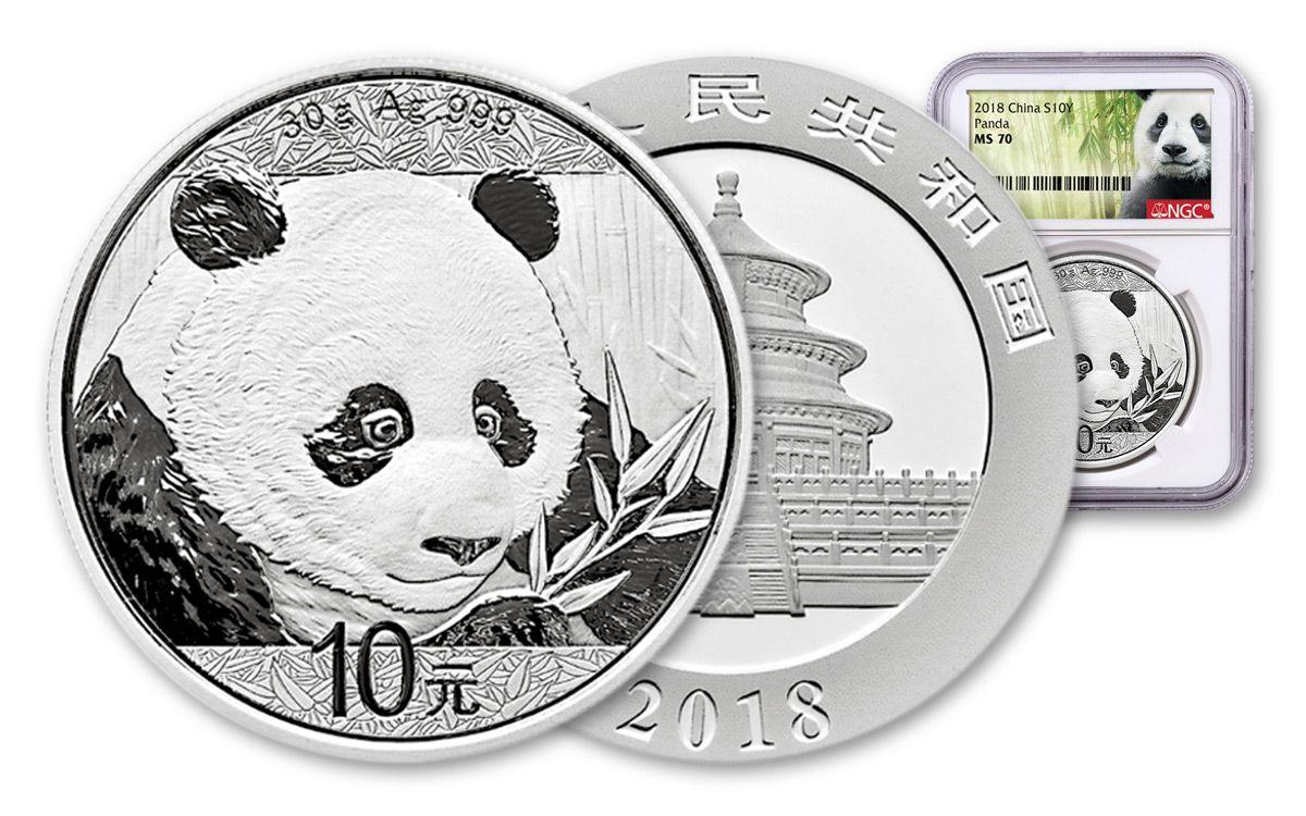 2018 China 10 Yuan 30 Gram Silver Panda Coin Ngc Ms70