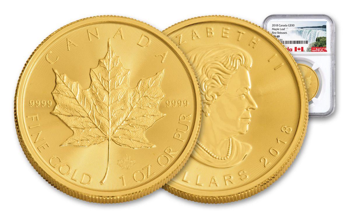 2018 Canada 1-oz Gold Maple Leaf Bullion Coin NGC MS69 FR | GovMint com