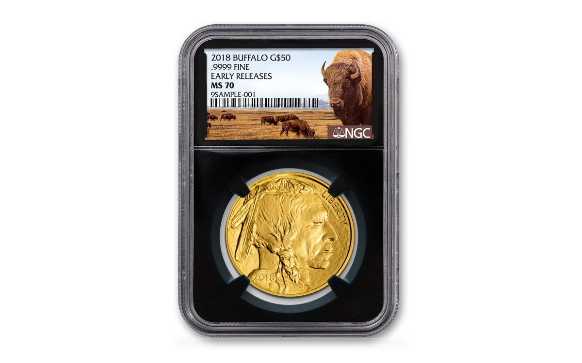 00d3a9893319 2018 50 Dollar 1-oz Gold Buffalo NGC MS70 Early Releases Buffalo Label -  Black