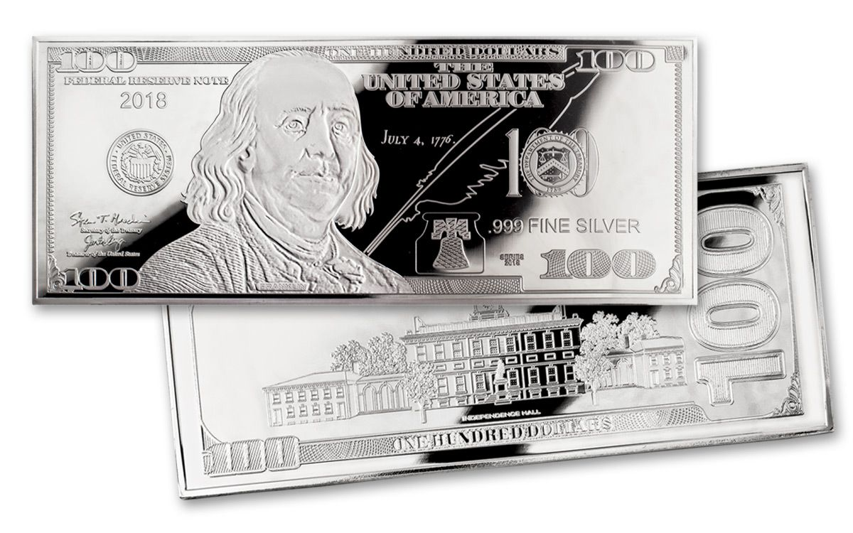 2018 4-oz Silver Franklin Currency Proof $100 Bill Design | GovMint com