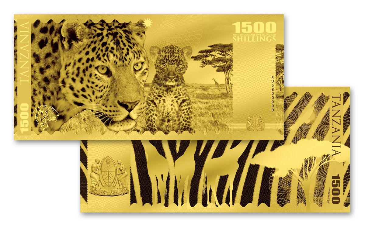 2018 Tanzania 1500 Shillings 1g Gold Big Five Leopard Note