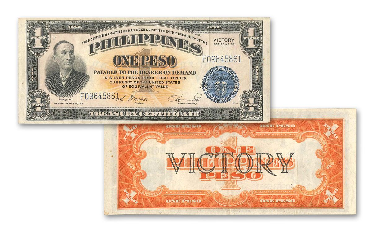 """1944 Philippines 1 Peso """"Victory"""" Currency Note 