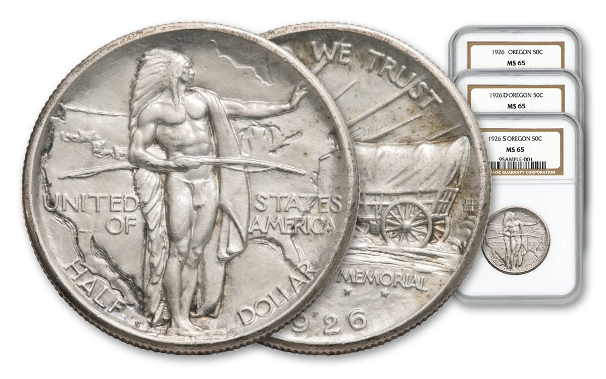 1926-1939 Oregon Trail Commemorative Half-Dollar 3-pc Set NGC/PCGS MS65 |  GovMint com