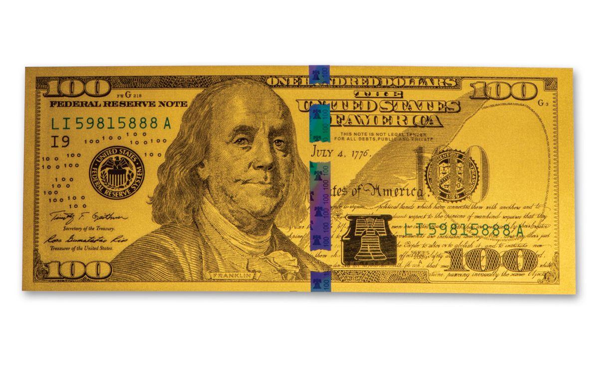 100 Benjamin Franklin 1 Gm 24 Karat Gold Currency Replica