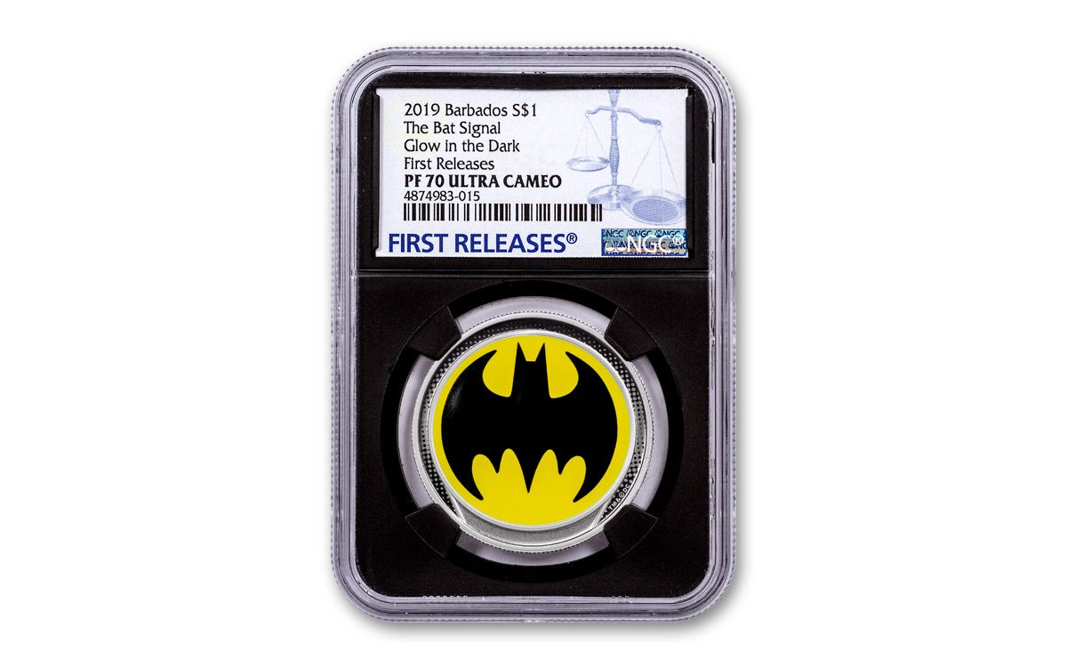 Batlight Shines On Line For Dark Knight >> 2019 Barbados 1 Glow In The Dark Bat Signal Colorized Silver Proof