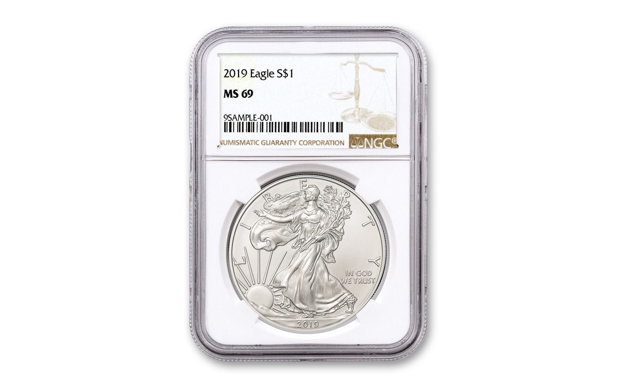 American Eagle Credit Card Login >> 2019 1 Dollar 1-oz Silver Eagle NGC MS69 Brown Label ...