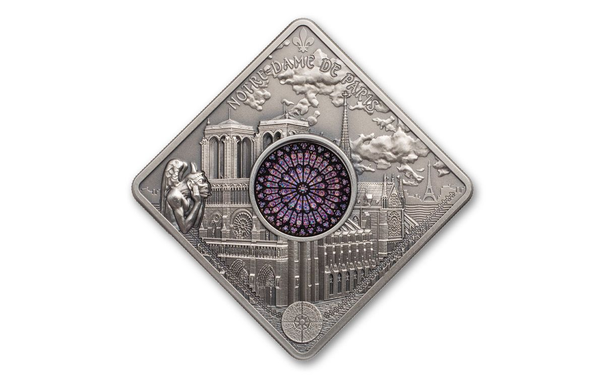 2017 Palau 10 50 Gram Silver Notre Dame Cathedral