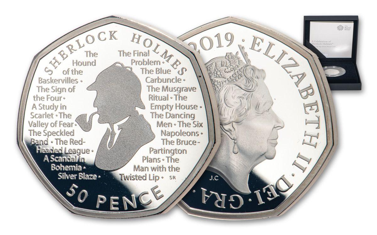 2019 Great Britain 50 Pence 8 Gram Silver Sherlock Holmes