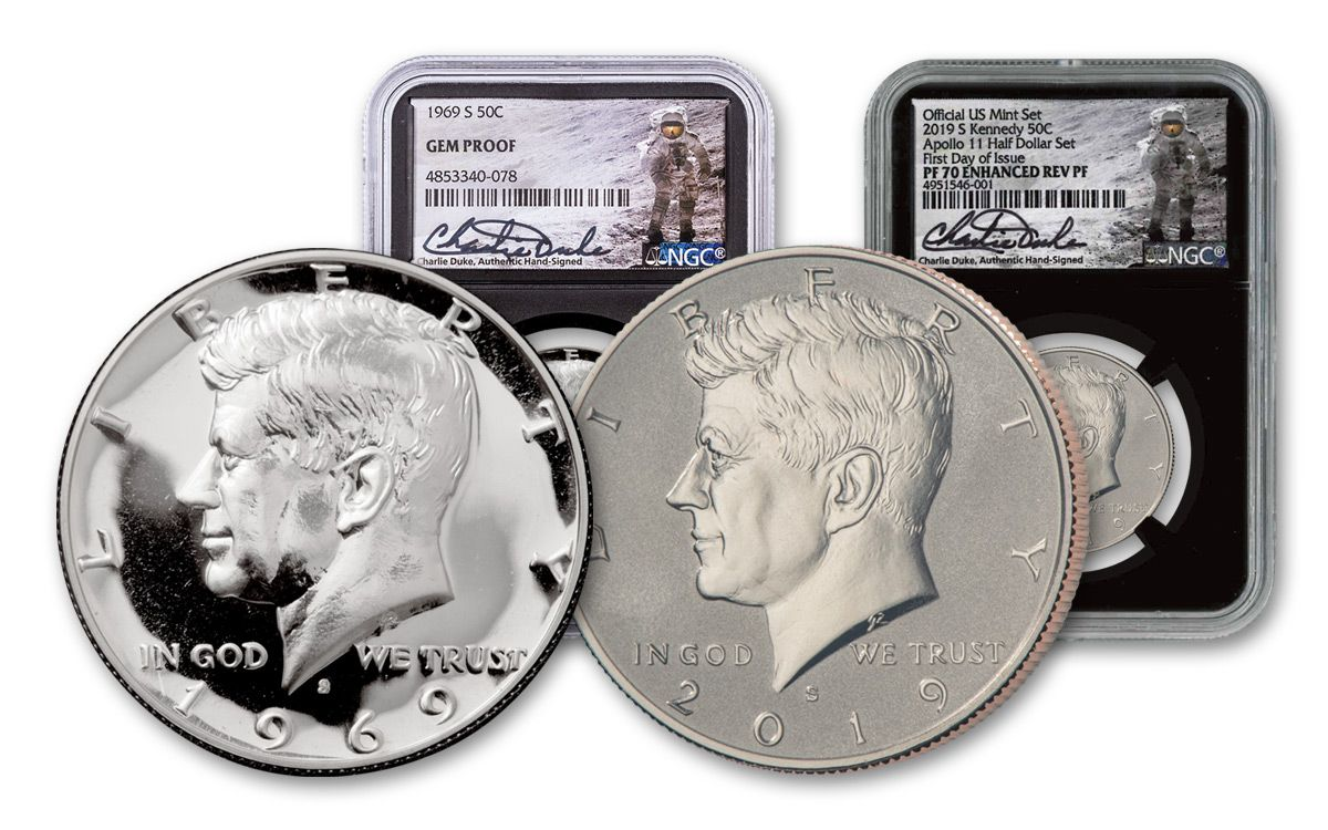1969–2019-S Kennedy Half Dollar Moon Landing NGC Gem Proof–PF70 FDI 2-Coin  Set w/Charlie Duke Signature   GovMint com
