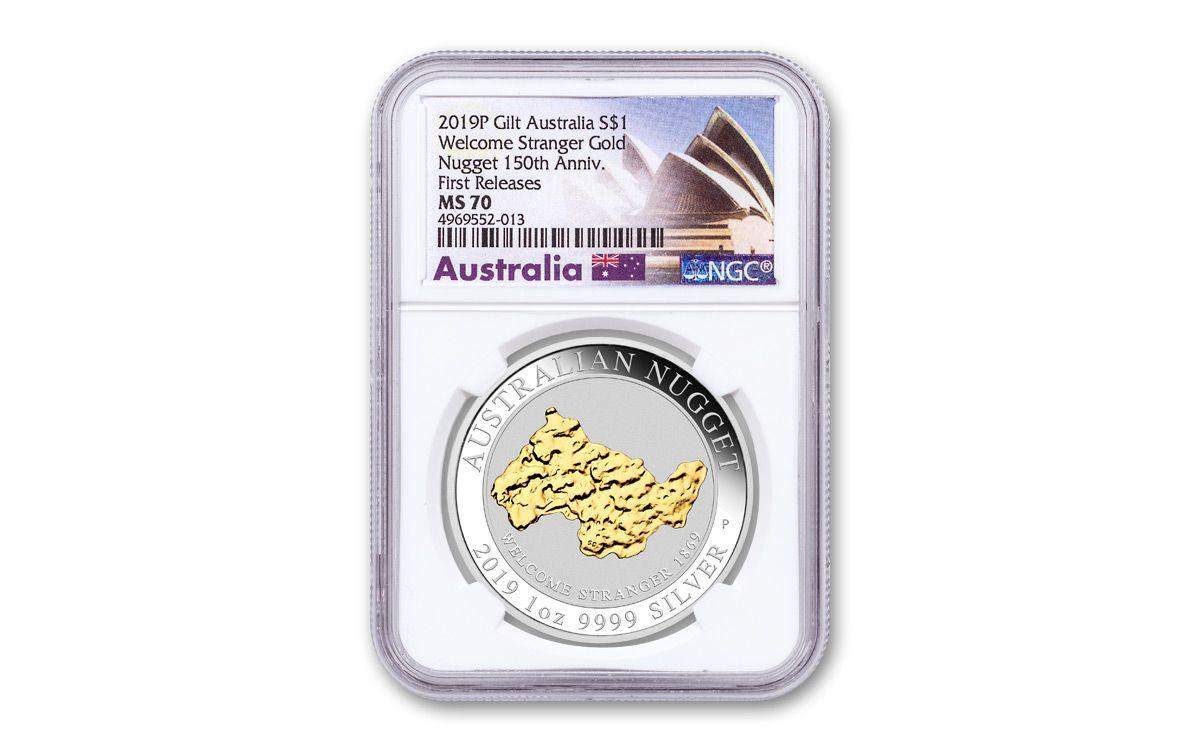 2019 Australia $1 1-oz Silver Welcome Stranger Nugget Gilded NGC MS70 FR  w/Opera House Label | GovMint com
