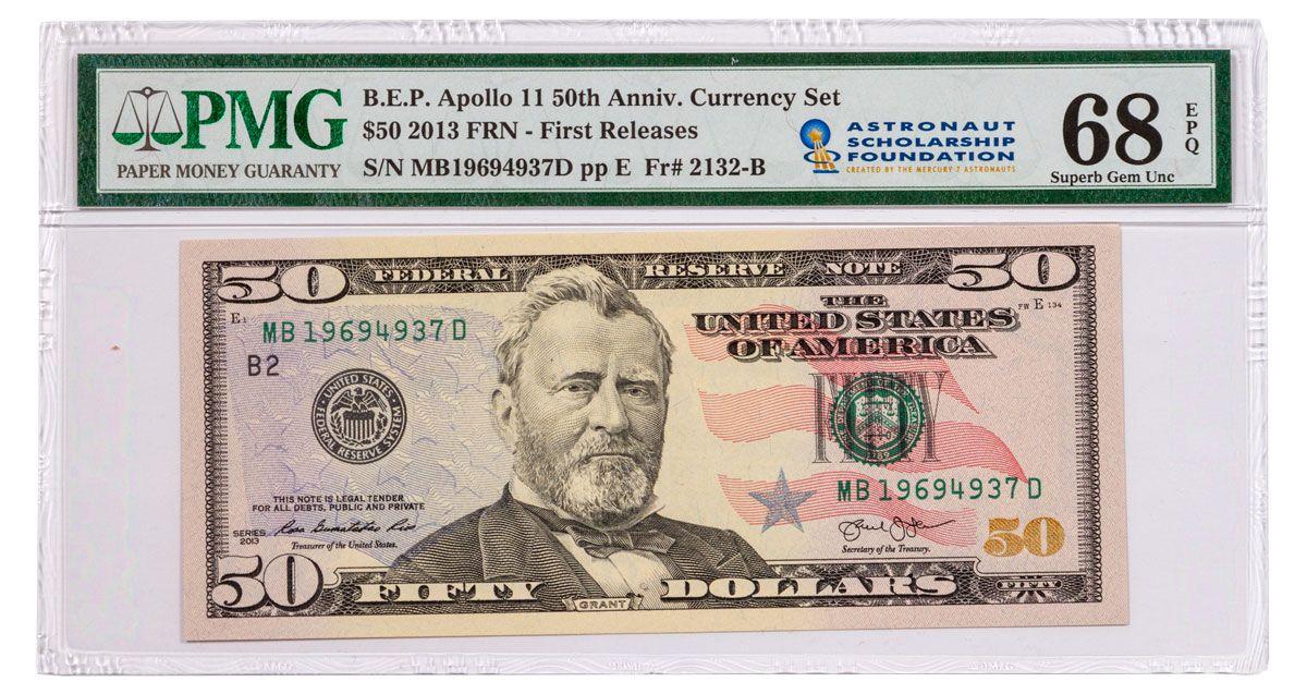2019 $50 Apollo 11 50th Anniversary Currency Set PMG 68 FR w/ASF Label |  GovMint com