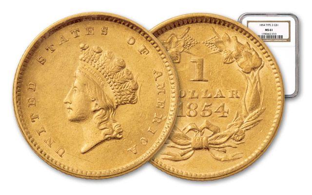1854-1856 1 Dollar Gold Indian Type II NGC/PCGS MS61