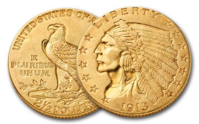 1908-1929 2.50 Dollar Gold Indian AU