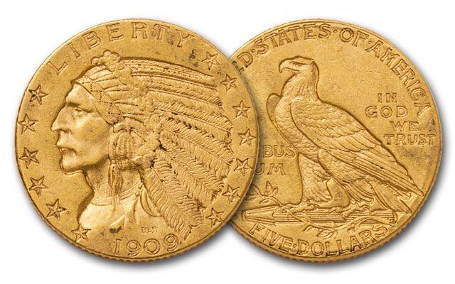 1908-1929 5 Dollar Gold Indian AU