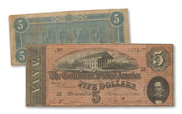 5 Dollar 1864 Confederate Note Fine-VF