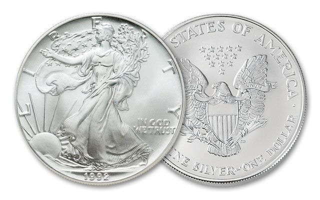 1992 1 Dollar 1-oz Silver Eagle BU