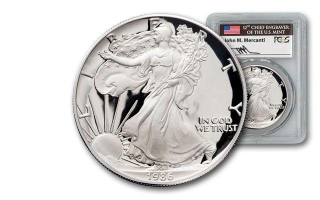 1986 1 Dollar 1-oz Silver Eagle PCGS PR70DCAM Mercanti Signed