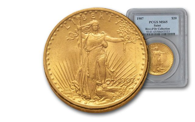 1907 20 Dollar Gold Saint Gaudens No Motto PCGS MS65 Rive d'Or