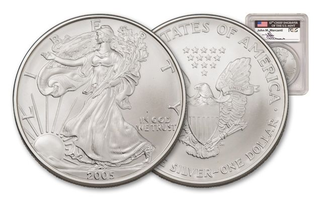 2005 1 Dollar 1-oz Silver Eagle PCGS MS70 First Strike Mercanti Signed